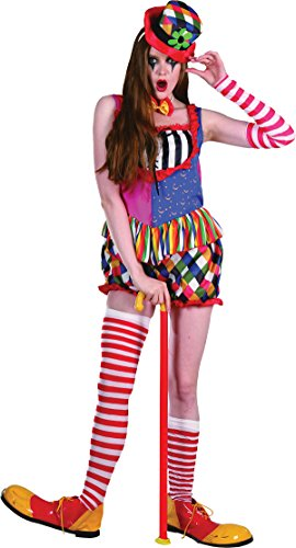 Adult Freaky Ladies Fancy Dress Halloween Party Colourful Bright Rainbow Clown (Rainbow Bright Fancy Dress)
