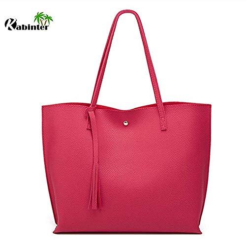 (Women's Soft Leather Tote Shoulder Bag from Kbiter, Big Capacity Tassel Handbag Women Large (Rose))