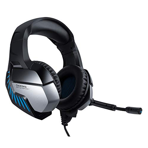 Onikuma K5 Pro Stereo Gaming Headset for PS4, PC, Xbox One Controller, Noise Cancelling Over Ear Headphones with Mic, LED Light, Bass Surround, Soft Memory Earmuffs for Laptop Mac Nintendo Switch Game