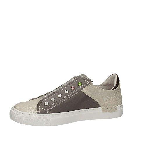 CAF NOIR DC527 grau weißen Schuhe Frauen gleiten auf Turnschuhe 203 BIANCO