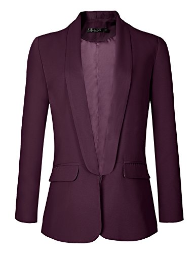 Urban CoCo Women's Office Blazer Jacket Open Front (M, Grape Wine) ()