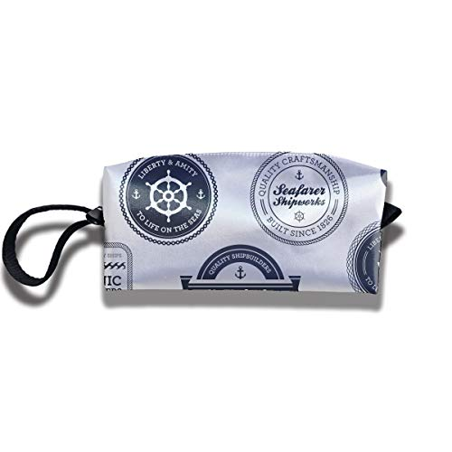 - Retro Nautical Label Small Cosmetic Bag Travel Cosmetic Bag with Zipper Waterproof Storage Bag Portable Receptacle Bag Suitable for Girls