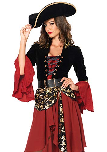 Professional Pirate Costumes (Leg Avenue Women's 2 Piece Cruel Seas Captain, black/Burgundy,)