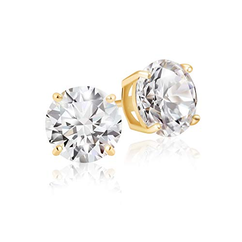 Lusoro 925 Sterling Silver Gold Plated Round Cut AAA Cubic Zirconia Stud Earrings - 1 Carat Total Weight CZ ()