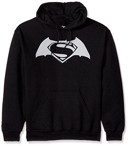 (Trevco Men's Batman v Superman Hoodie Sweatshirt, Vs Shield Black XXX-Large)