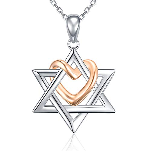 Jewish Gold Pendants - Apotie Sterling 925 Silver Love Heart Rose Gold Six Point Star of David Pendant Necklace Gift Jewish Jewelry for Women or Girls