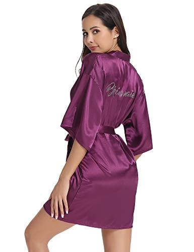 Vlazom Bride Bridesmaid Robes Silk Bridal Party Kimono Robes Glitter Bridesmaid Gift for Wedding - Monogrammed Satin