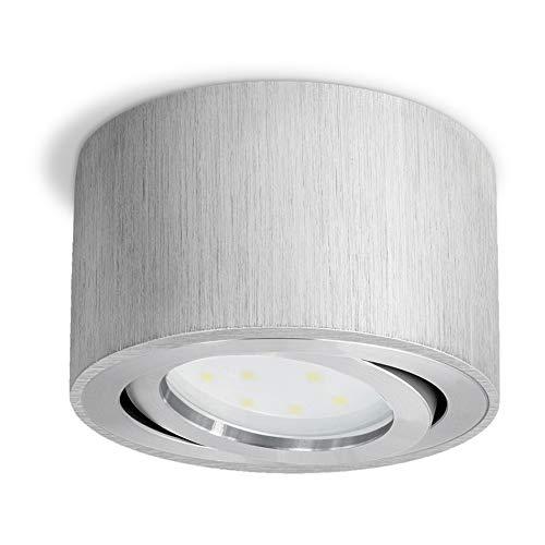 SSC-LUXon CELI-1A opbouwlamp LED spot aluminium rond – plat draaibaar – opbouw plafondlamp incl. LED-module 5W warm wit…
