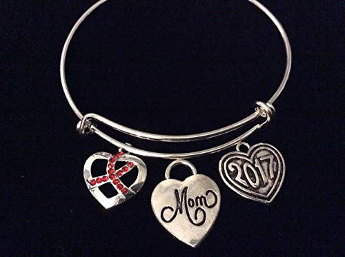 Custom Mom Memorial Jewelry Red Awareness Ribbon Jewelry Adjustable Bracelet Charm Bracelet Expandable Charm Bangle Bracelet Survivor Gift Heart Disease Personalization and Custom Options Available