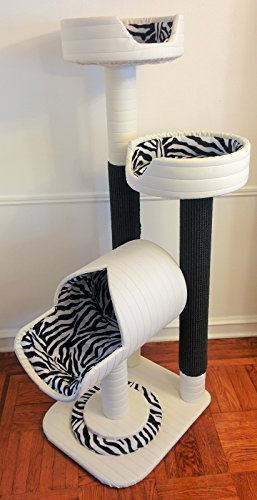 Royal Cat Boutique Luxury Cat Condo, Ivory Zebra - Three Tiered Cat Tree