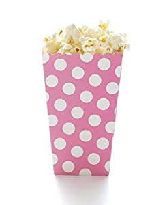 Amazon.com: Pink Polka Dot Popcorn Boxes, Hot Pink (12 Pack) - Girl Princess Birthday Party or ...