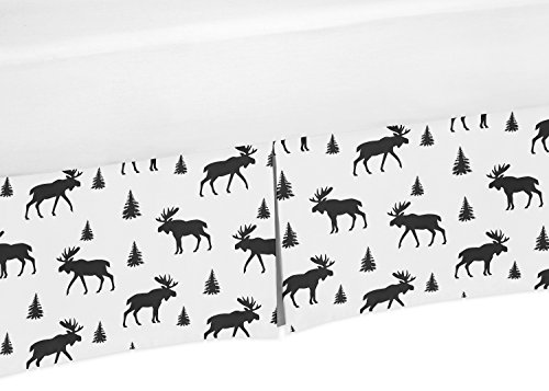Sweet Jojo Designs Black and White Woodland Moose Pleated Queen Bed Skirt Dust Ruffle for Rustic Patch (Cabin Bed Ruffle Bedskirt)