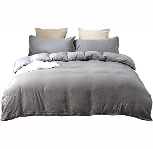 Neithera Duvet Cover Set King Size,3-Piece Nature Style Water-Washed Microfiber Bedding Set with Zipper and Corner Ties(Grey)