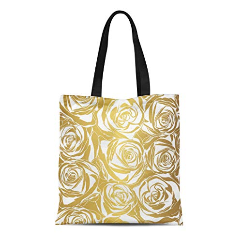 Semtomn Cotton Canvas Tote Bag Damask Elegant White Rose Pattern on Gold Modern Abstract Reusable Shoulder Grocery Shopping Bags Handbag -