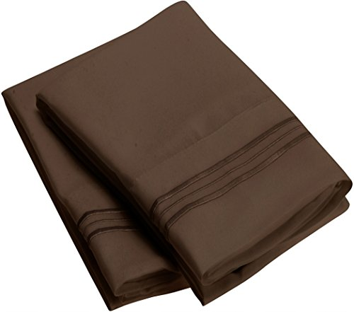 Harmony Linens Pillowcase Set - 1800 Double Brushed Microfiber Bedding - Deep Pocket, Hypoallergenic - Wrinkle, Fade, Stain Resistant Sheets (Set of 2 Standard Size, Brown)