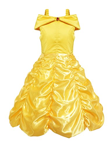 Little Girls Layered Princess Belle Costume Dress up (2 Years, Yellow) (Belle Baby Costume)