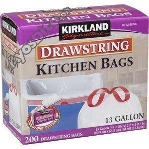 Kirkland Signature Drawstring Kitchen Trash Bags, 13 Gallon, Pack of 2
