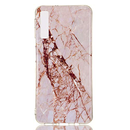 for Samsung Galaxy A7 2018 (A750) Marble Case with Screen Protector,Unique Pattern Design Skin Ultra Thin Slim Fit Soft Gel Silicone Case,QFFUN Shockproof Anti-Scratch Protective Back Cover - White by QFFUN (Image #1)