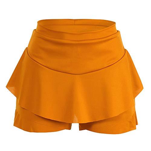 Colmkley Women's Casual Sexy Layered Pleated Mini Skirt Solid Ruffle Short Skirt Yellow ()