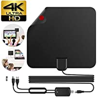 TV Antenna, HD Digital Indoor TV Antenna Amplified 50-75 Mile Range Support 4K 1080p Free TV Channels, 16.5FT Coax Cable for Digital Freeview