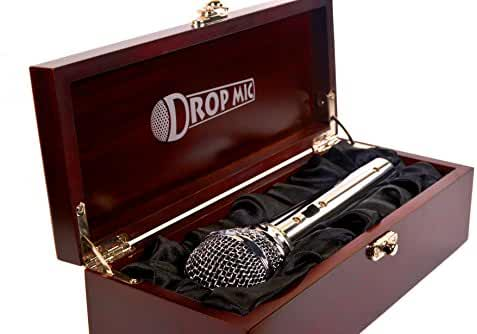 Drop Mic Metal Prop Microphone in Cloth-Lined Wood Box