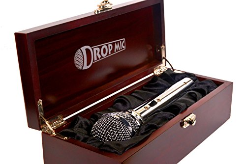 Drop Mic Metal Prop Microphone in Cloth-Lined Wood Box -