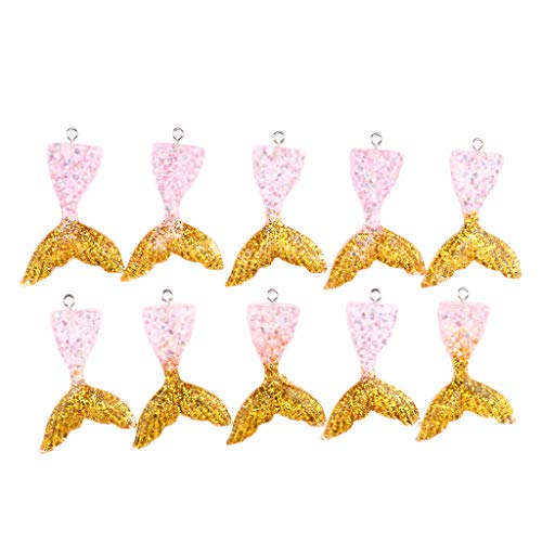SM SunniMix 10 Pieces Korean Style Mermaid Tail Resin Glitter Tail Fairy Charms Pendant - Pink Gold (Pink Mermaid Charm)