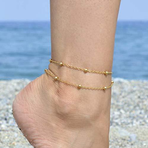 Aukmla Bracelet de cheville /à sequins pour femme et fille