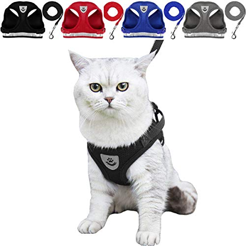 YujueShop Cat Harness and Leash Dog Harness Walking Adjustable Soft Mesh Pet Vest with Lead Re-Adjustable Pet Leash with Reflective Material and Metal Button Suit for Most Sizes of Pet (Black, L) from YujueShop