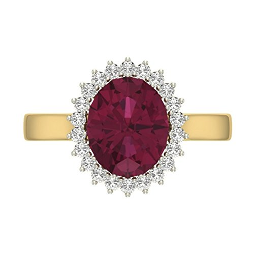 14K Or jaune 0,3carat Diamant Taille ronde (IJ | SI) Rubis et diamant Bague