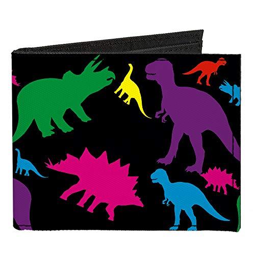 Canvas Bi-Fold Wallet - Dinosaur Silhouette Black Multi Color ()