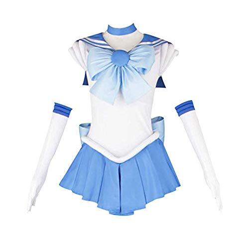 Classical City Sailor Moon Sailor Mercury Mizuno Ami Amy Anderson Fighting Uniform Cosplay Costume,XL]()