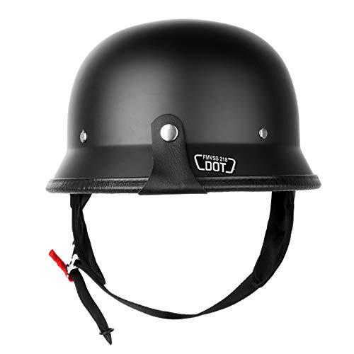 Iglobalbuy DOT Approved German Half Helmet Choooer Cruiser Custom Adult Motorcycle (XL) (German Cruiser)