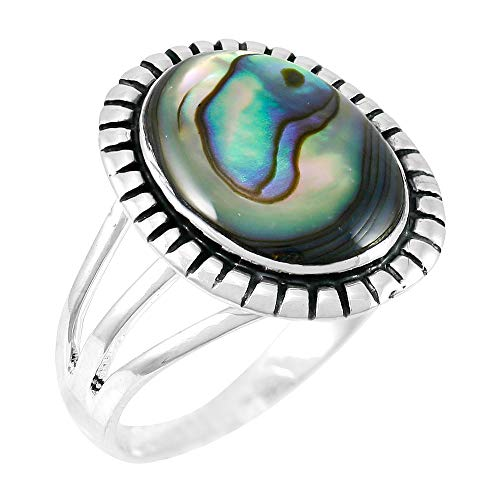 Abalone Ring Sterling Silver 925 Genuine Gemstones Size 6 to 11 (Abalone Shell) (7)