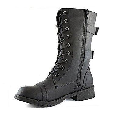 de Confort Invierno Otoño botas Calf Zipper Zapatos para negro Pu Up puntera botas Ue38 tacón mujer exterior vestir botas planas Novedad 5 Mid de moda CN39 UK6 redonda RTRY Us7 EU39 US8 Uk5 Lace 5 CN38 x7OY0w8qw