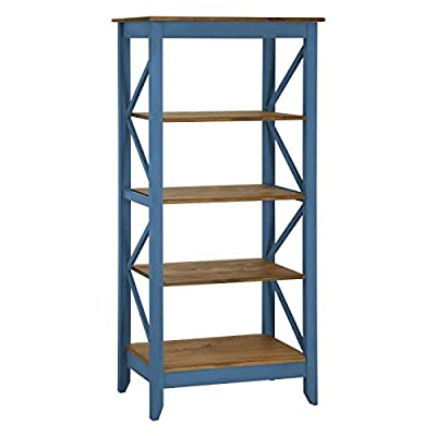 Manhattan Comfort Jay Collection Modern Accent 4 Shelf Open Tier Pattern Wooden Bookcase, Black/Wood -  - living-room-furniture, living-room, bookcases-bookshelves - 41deADzfgzL. SS400  -