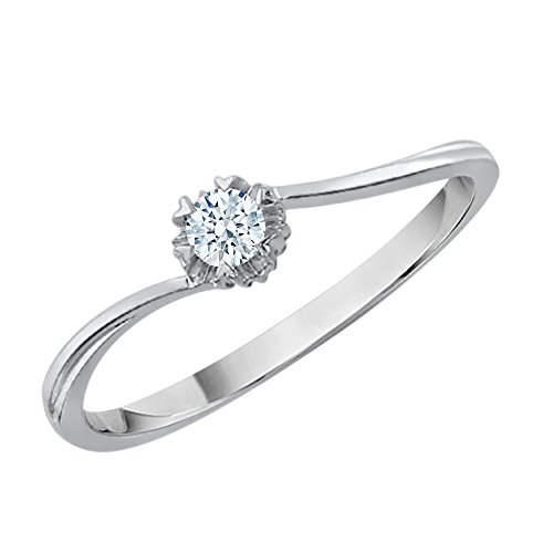 Diamond Bypass Promise Ring in Sterling Silver (1/10 cttw) (GH-Color, I2/I3-Clarity) (Size-6) by KATARINA