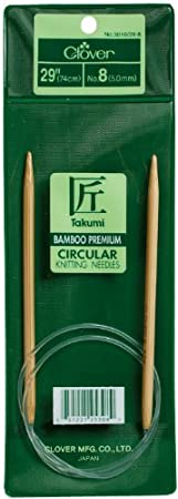Size 3 Clover 3016//29-3 Takumi Bamboo Circular 29-Inch Knitting Needles
