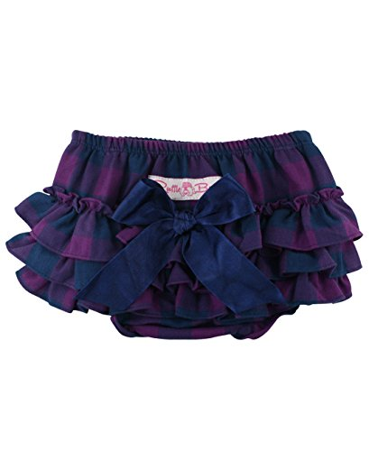 RuffleButts Baby/Toddler Girls Plum and Navy Buffalo Plaid 3-6m (Navy Plum)