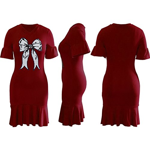 Robe Midi Swing Féminin Volant - Manches Courtes Bowknot Robe Rouge Vin Élégant