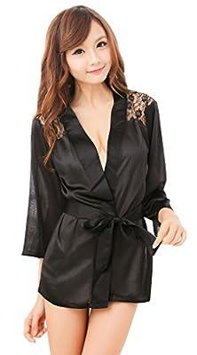 EPYA Sexy Women's Stain Lace Kimono Robe Bridal Lingerie Sleepwear Nightgown Set