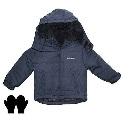 London Fog Water Resistant Outdoor Boys Heavy Winter Coat and Mittens Navy 4T