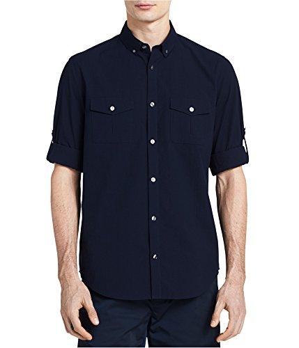 (Calvin Klein Men's Long Sleeve Fine Seersucker Voile Roll-Tab Button Down Shirt, Cadet Navy, Small)