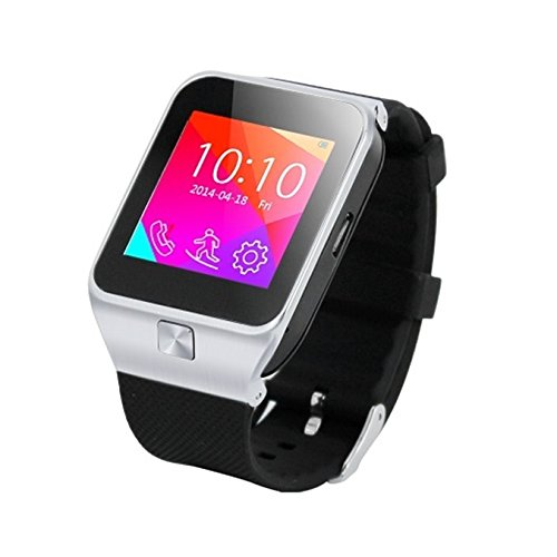 (SmartFitnessMusicWatch (Silver Metal Case & Black Strap) : Sport Fitness Music Smartwatch (Sync calls to iPhones, Android Phones, Bluetooth Phones). Integrated Quad-Band GSM Bluetooth Cell Phone, Music Player, Pedometer, FM Radio, Speaker (Includes 8GB Flash,& Micro/Nano-to-Mini SIM Card Adapters).)