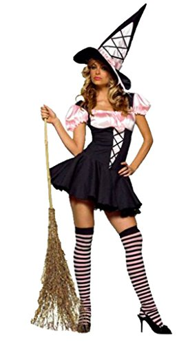 [Leg Avenue Womens Witch Pink And Black Corset Outfit Fancy Dress Sexy Costume, XL (14-16)] (Sexy Witch Costumes Plus Size)