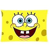 XuLuo Cute Spongebob Cartoon Cotton & Polyster (20 x 30) Bedding Pillowcase Custom Zippered Decorative Pillow Cover (Two Sides)