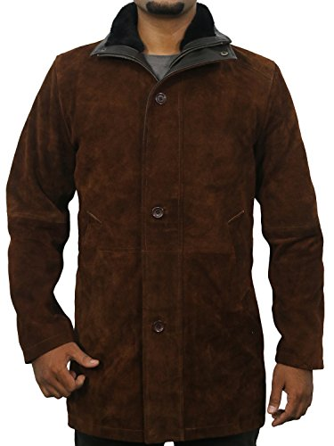 Suede Two Pocket Coat - Laverapelle Men's Sheriff Walt (Robert Taylor) Cow Suede Leather Coat - 1502774 - Brown - Large