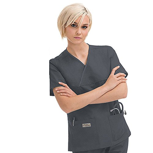 Urbane Essentials Women's 2-Pocket Crossover Solid Scrub Top XX-Large (Landau 2 Pocket)