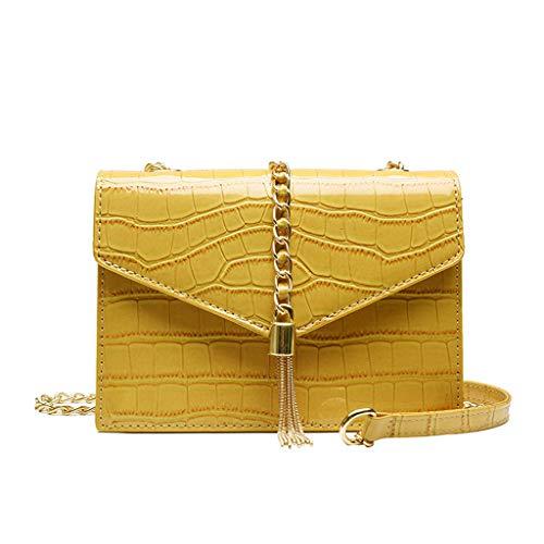 DZTZ Women Serpentine Leather Heart-Shape Crossbody Bag Handle Bag Chain Shoulder Bags   (Yellow) (Serpentine Shape)