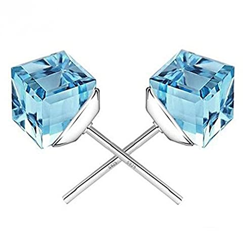 Winter's Secret the Water Cube Sky Blue Crystal Square Shape Silver Plated Fashion Stud Earring